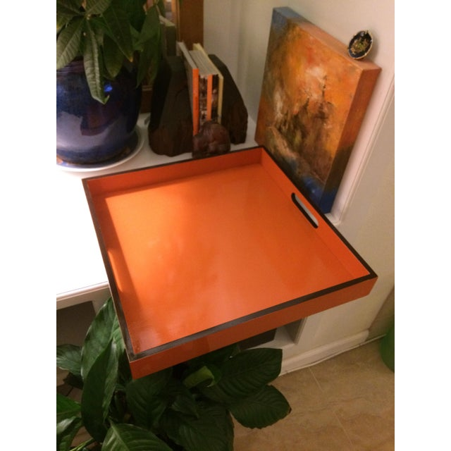 Mid-Century Modern Hermès Inspired Orange Lacquer Tray For Sale In Denver - Image 6 of 11