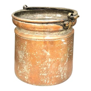 1940s Hammered Copper & Brass Planter Bucket with Handle For Sale
