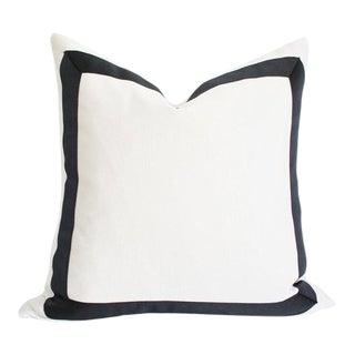 "Solid White Grosgrain Ribbon Border Pillow Cover 18""sq"