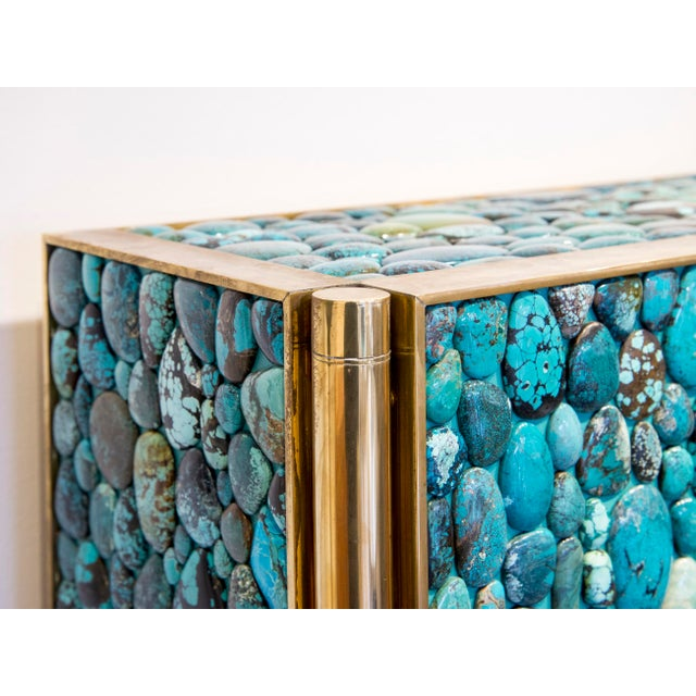 Kam Tin - Turquoise Tall Cabinet Made of Real Turquoise Cabochons, France,2014 For Sale - Image 4 of 9