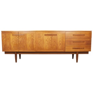 1960s English Mid-Century Modern Flame Teak Credenza For Sale