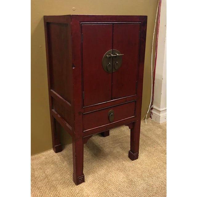 Antique Chinese Red Lacquer Cabinets - a Pair For Sale - Image 4 of 8