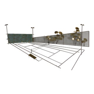 Curtis Jere Metal Wall Sculpture of Tennis Court (A) For Sale
