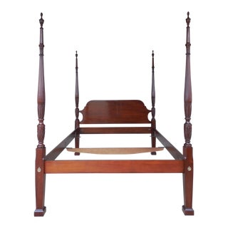 Quality Mahogany Rice Carved Chippendale Style Queen Size Poster Bed