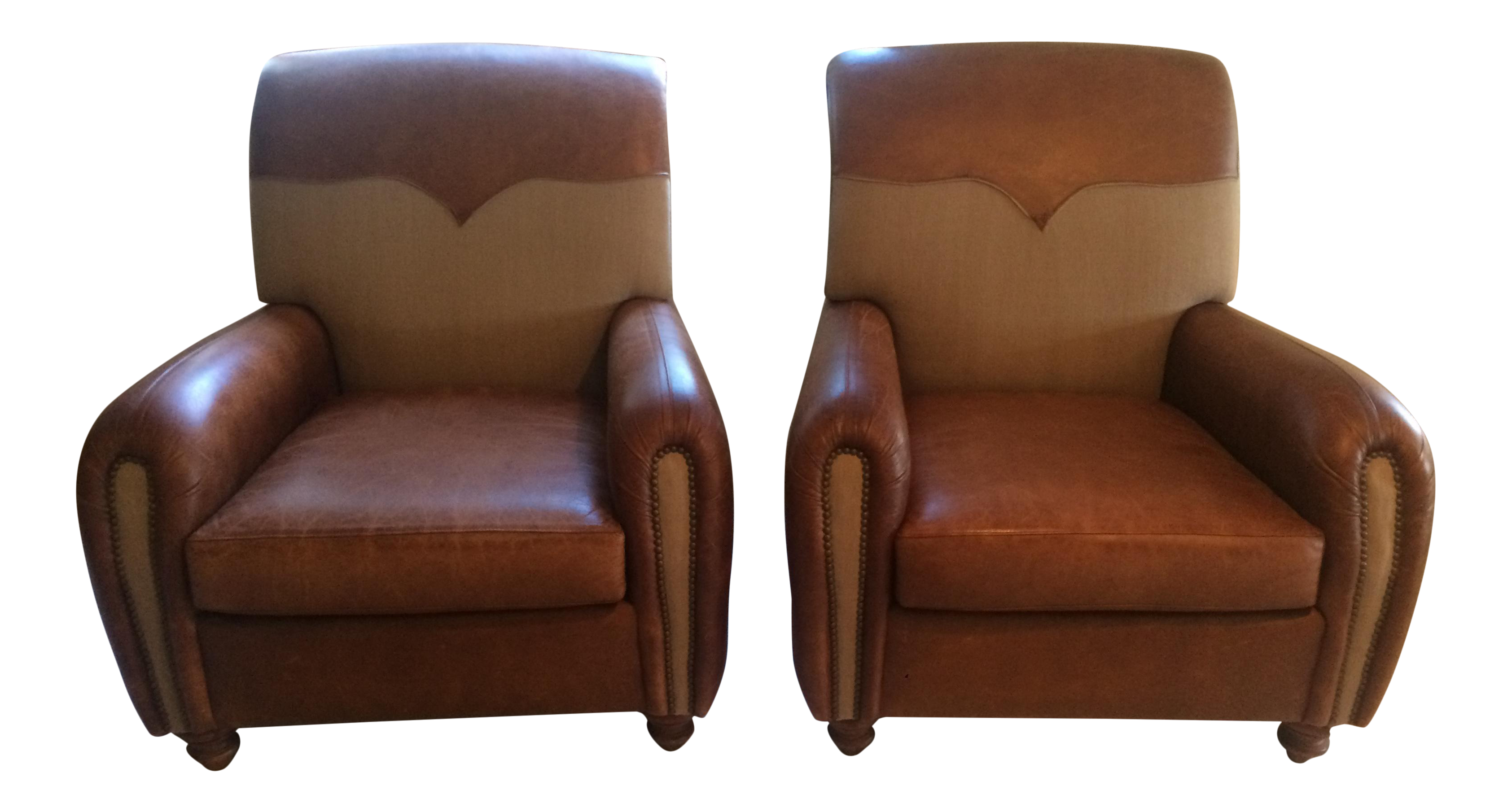 Henredon Leather Chairs   A Pair