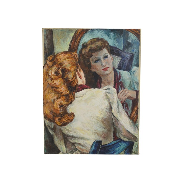 Portrait Painting of a Woman's Reflection, American 1940's For Sale - Image 9 of 9