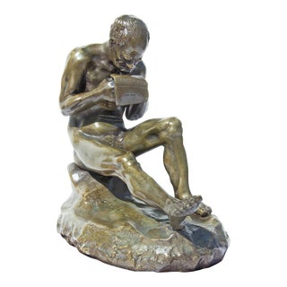 """19th Century Bronze Sculpture """"The Letter"""" For Sale"""