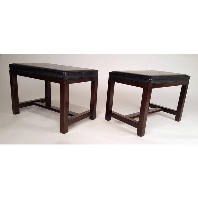 Dunbar Furniture Two Pairs of Solid Mahogany Stools by Edward Wormley for Dunbar For Sale - Image 4 of 9
