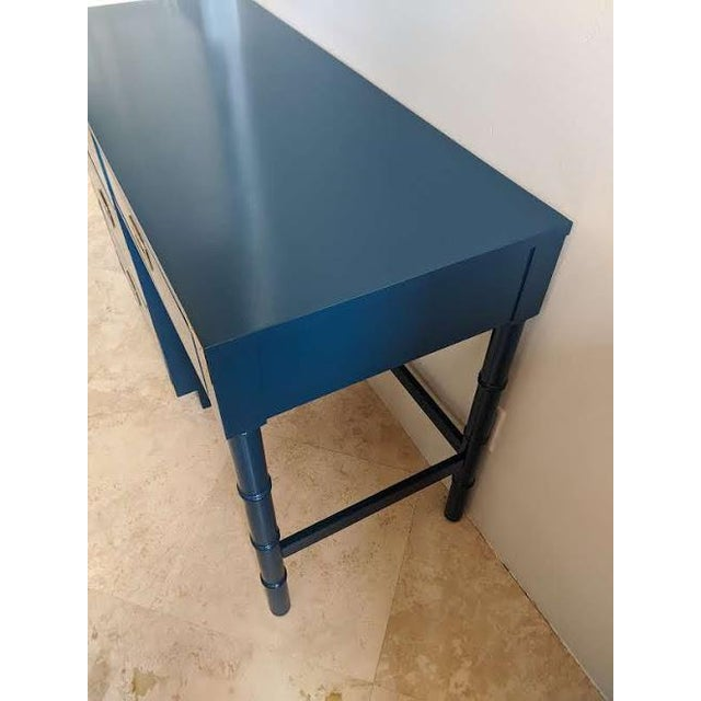 Blue 1970s Campaign Dixie Blue Gloss Desk For Sale - Image 8 of 10