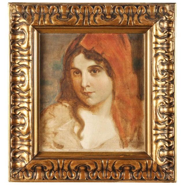 Canvas 1920s Antique Portrait of a Woman Oil Painting For Sale - Image 7 of 7