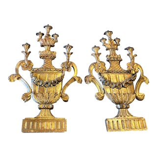 18th Century Italian Gilded Gold Plaster Wall Urn Shaped Sconces - a Pair For Sale