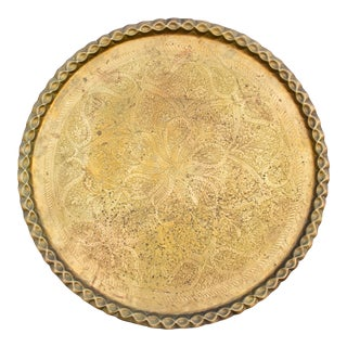19th Century Antique Moorish Brass Engraved Platter For Sale