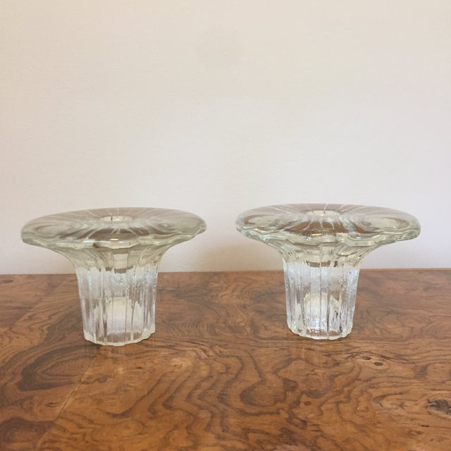 "Gorgeous pair of arkipelago glass candle holders by Iittala. Designed by Timo Sarpaneva in his inverted ""Bolero"" style...."
