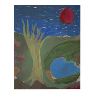 """Narrow Doorways Under Red Moon"" Large Acrylic Wall Art For Sale"