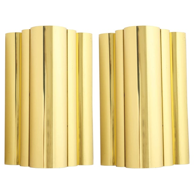 1970s 1970s Jere Style Modern Brass Sconces - a Pair For Sale - Image 5 of 5