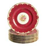 Image of 1930s Royal Worcester Elegant Red Dinner Plate - Set of 12 For Sale