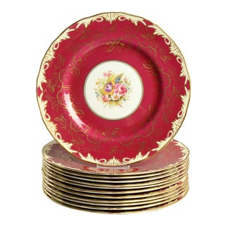 1930s Royal Worcester Elegant Red Dinner Plate - Set of 12 For Sale