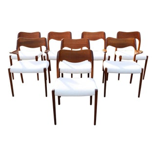 1960s Vintage Neils Moller Solid Teak Danish Dining Chairs- Set of 6 For Sale