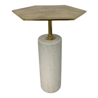 Anthem Intude Home Brass + Marble Side Table For Sale