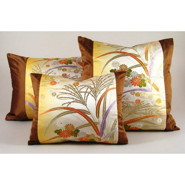 Japanese Obi Yellow Ombre Streamside Floral Lumbar Pillow Cover For Sale In Milwaukee - Image 6 of 7