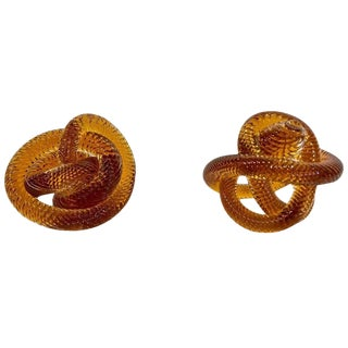 Mid-20th Century Zanetti Glass Knots - a Pair For Sale