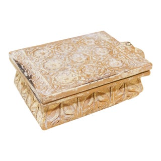 Whitewashed Floral Carved Spice Box For Sale