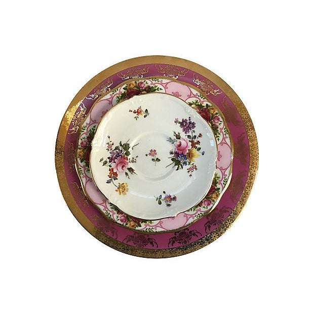 Pink Vintage Mismatched Porcelain Place Setting - Set of 5 - Image 4 of 9