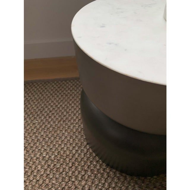 Mid-Century Modern Minimalist Cb2 Marble and Metal Side Table For Sale - Image 3 of 7