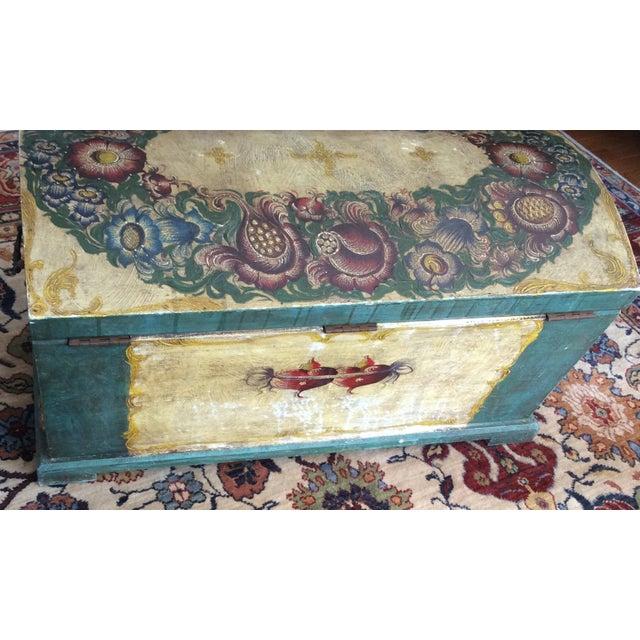 Dome-Top Hand-Painted Blanket Chest - Image 5 of 9