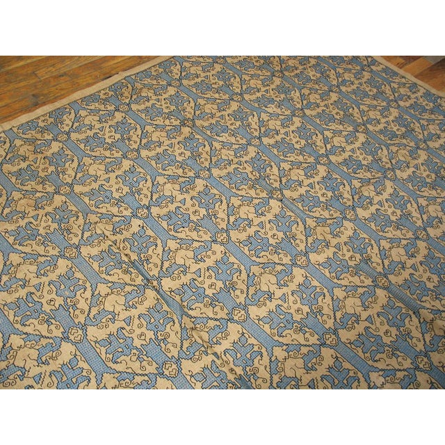 "Fine silk cross stitch on jute foundation with allover pattern, made in Italy in 1890. 5'10"" x 8'8"" with no repair."