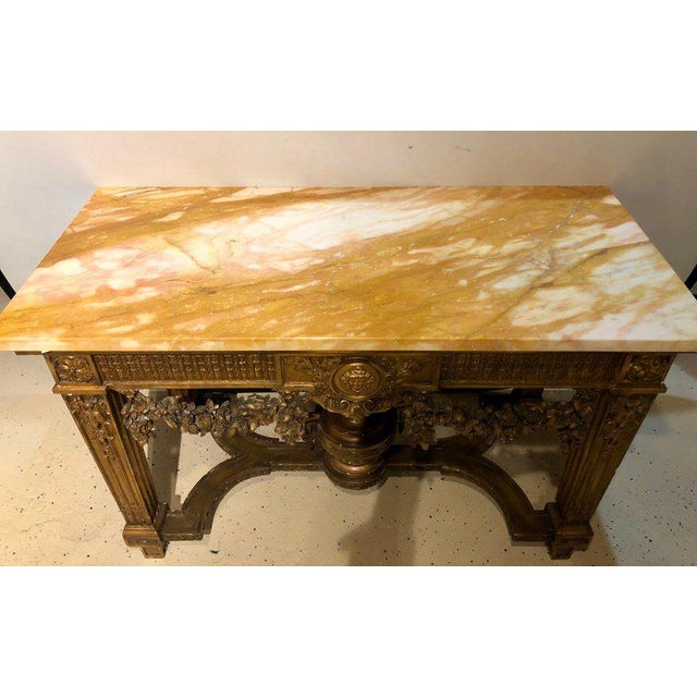 Louis XV Louis XV Style Giltwood Marble-Top Console, Hall or Center Table For Sale - Image 3 of 13