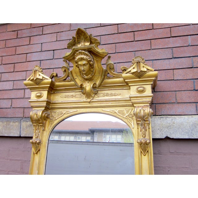 1820 Antique Renaissance Revival Gold Gilt Pier Mirror With Bust of Columbia For Sale - Image 4 of 7