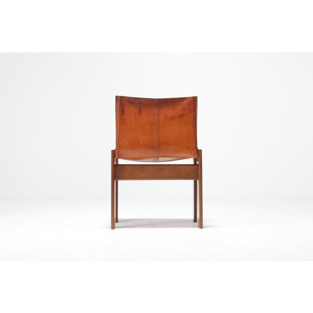 Afra & Tobia Scarpa Scarpa 'Monk' Chairs in Patinated Cognac Leather, Set of Four For Sale - Image 4 of 11