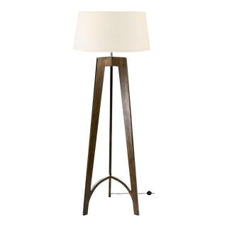 Polished Chrome and Walnut Floor Lamp For Sale