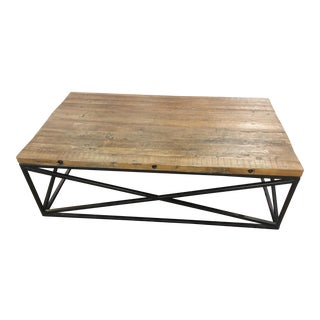 Industrial Reclaimed Pine & Iron Coffee Table For Sale