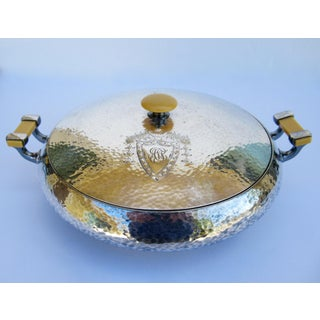 C.1910-1930s Art Nouveaux Hand Forged & Hammered Silver Plate Lidded Server W/Bakelite Handles Preview
