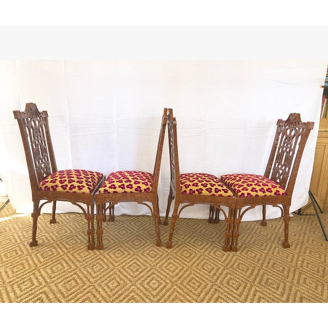 Vintage Pagoda Wooden Carved Dining Chairs - Set of 4 For Sale - Image 4 of 13