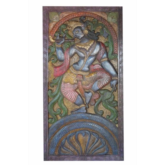 Vintage Indian Hand Carved Krishna Dance on Snake Kaliya Barn Door Wall Sculpture For Sale - Image 4 of 4