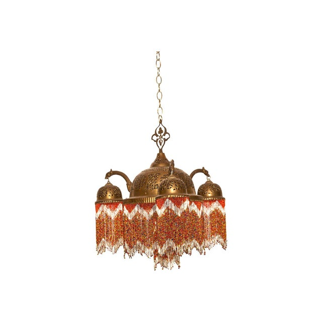 Vintage Moroccan Brass & Beaded Pendant Lamp For Sale In San Francisco - Image 6 of 10