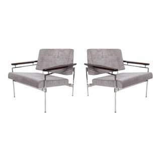 Sergio Rodrigues Beto' Armchairs in Chenille and Jacarand - a Pair For Sale
