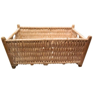 French Rectangular Laundry Basket, Late 19th Century For Sale