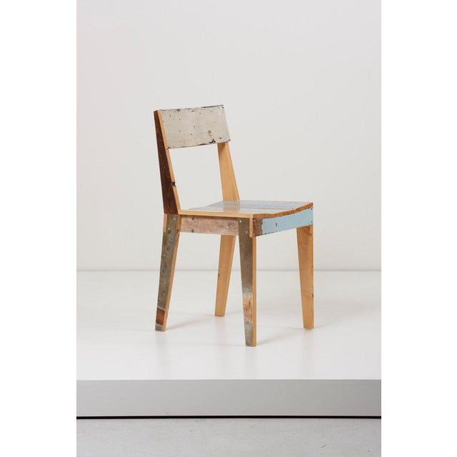 Mid-Century Modern Set of Four Lacquered Oak Chairs in Scrapwood by Piet Hein Eek For Sale - Image 3 of 13