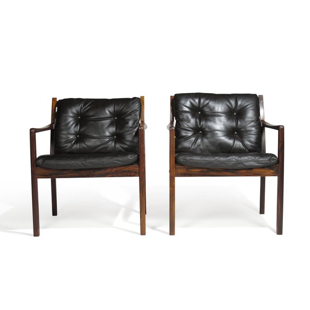 Ole Wanscher Rosewood Lounge Chairs in Original Leather - a Pair For Sale - Image 11 of 11