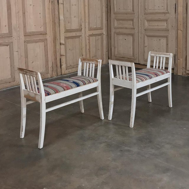 Mid-Century Modern Pair 19th Century Antique Swedish White Painted Stools With Ikot Upholstery For Sale - Image 3 of 11