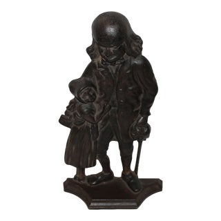 Benjamin Franklin Cast Iron Door Stop For Sale