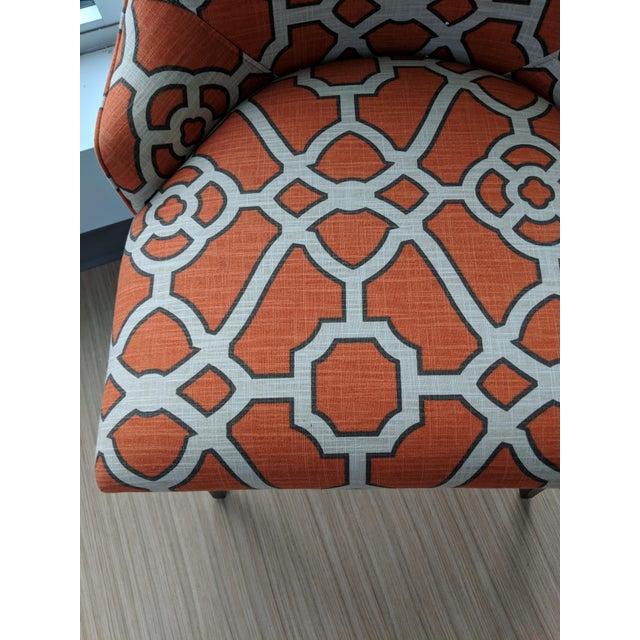 Woodbridge Furniture Woodbridge Orange Lattice Upholstered Dining Chairs - a Pair For Sale - Image 4 of 5