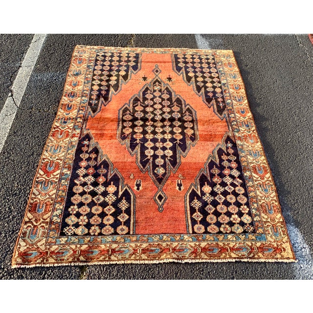 1930s Vintage Persian Mazlaghan Rug - 4′5″ × 5′10″ For Sale - Image 12 of 12