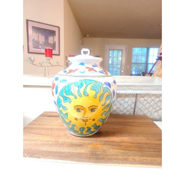 Boho Chic Vintage Sunburst Ceramic Ginger Jar For Sale - Image 3 of 10