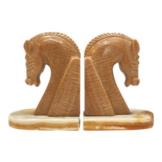 Mid-Century Marble Horse Head Bookends - A Pair