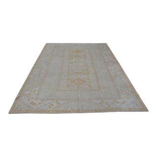 1960s Vintage Turkish Oushak Rug - 6′9″ × 9′4″ For Sale